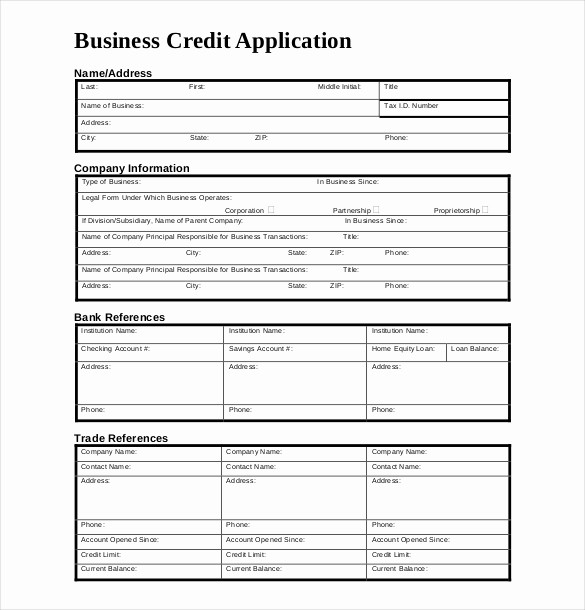 Business Credit Application form Template New Credit Application Template – 13 Free Word Pdf Documents