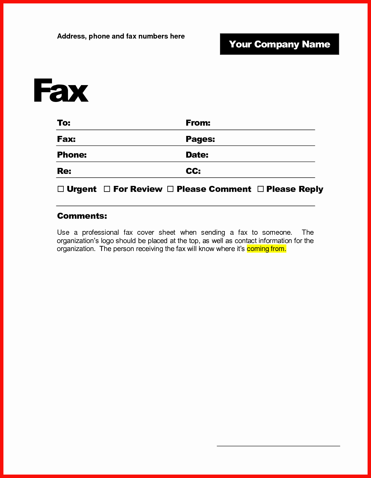 Business Fax Cover Sheet Template Lovely Printable Fax Cover Sheet