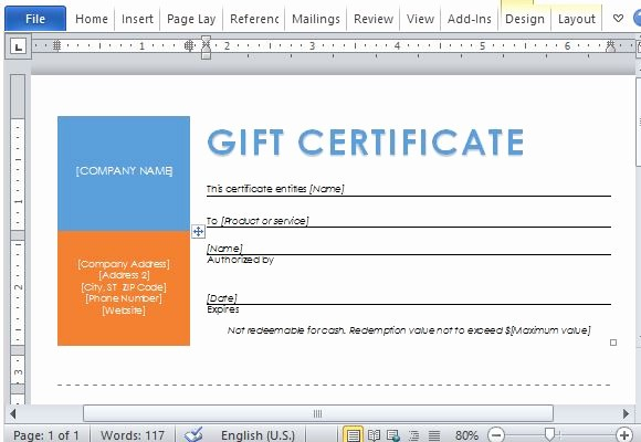 Business Gift Certificate Template Word Awesome Printable Gift Certificates Template for Word