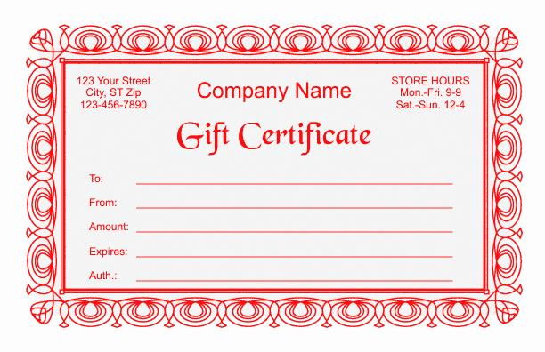 Business Gift Certificate Template Word Elegant Gift Certificate Template 2