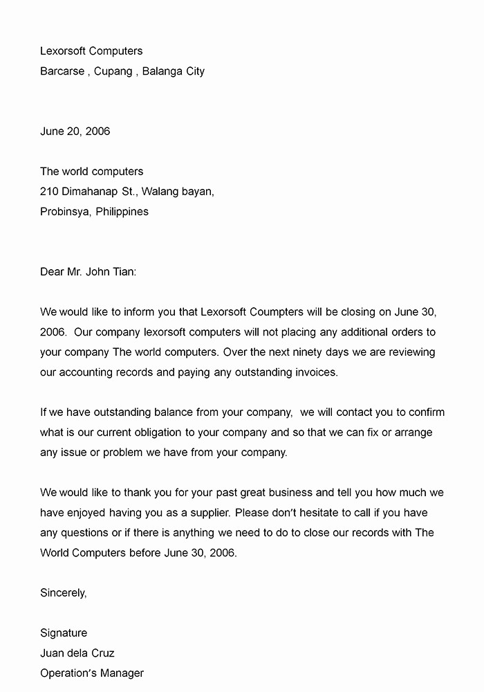 Business Letter format Microsoft Word Beautiful Excellent Business Closing Announcement Letter Sample for