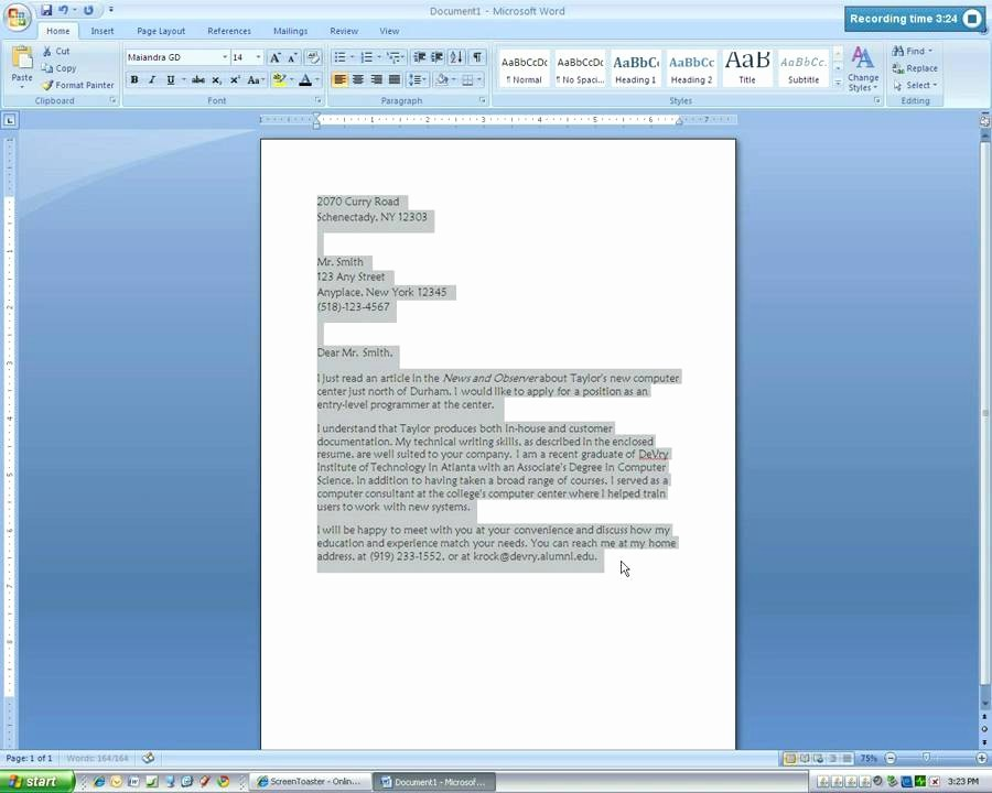 Business Letter format Microsoft Word Fresh Microsoft Word 2007 Business Letter Tutorial4