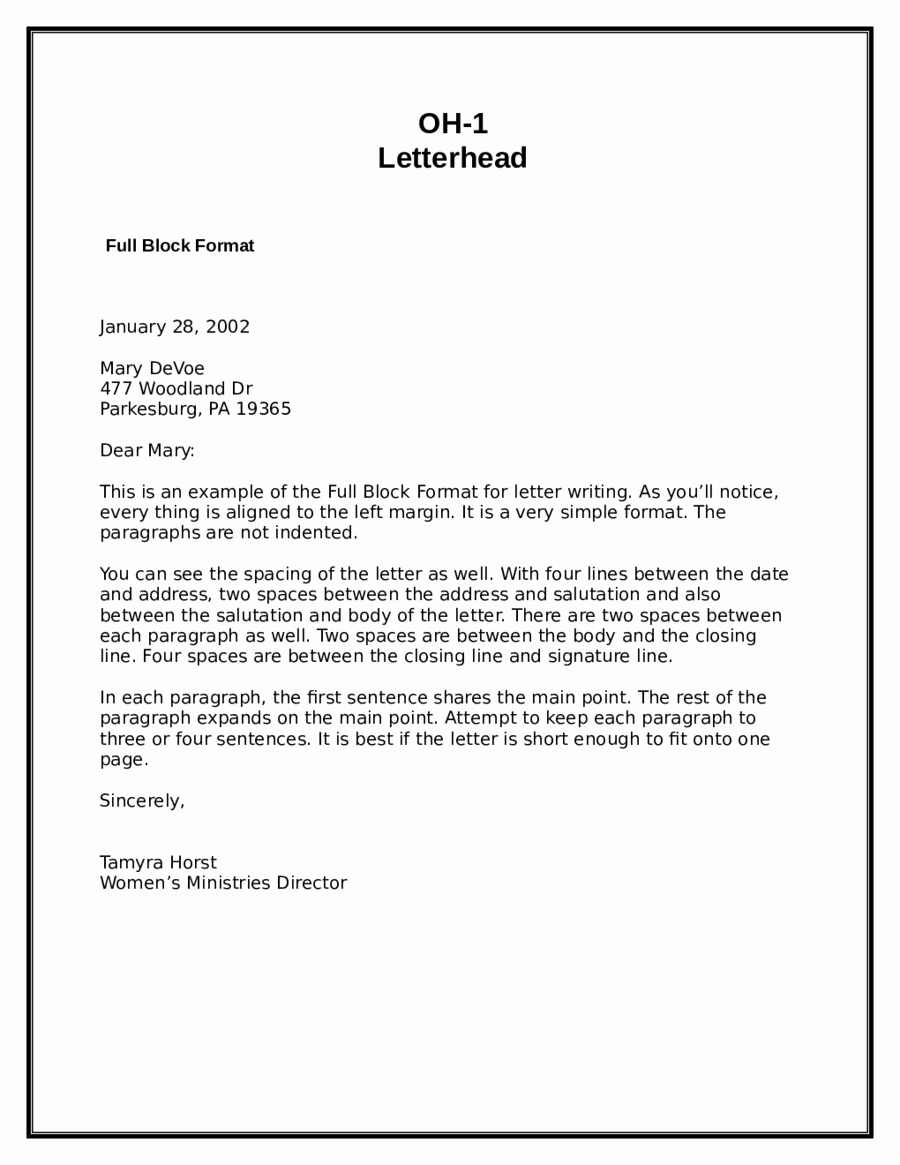 Business Letter format Template Word Unique 5 Block Letter formats Word Excel Templates