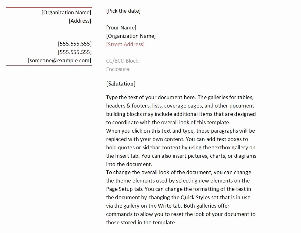 Business Letter format Template Word Unique Business Letter format Template