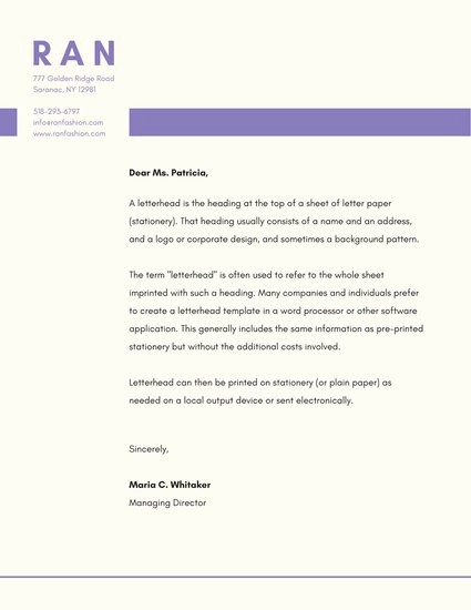 Business Letter Template with Letterhead Awesome Business Letterhead Templates Canva