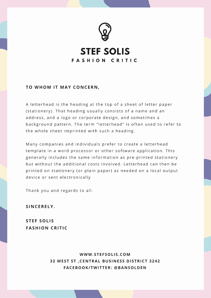 Business Letter Template with Letterhead Best Of Free Line Letterhead Maker with Stunning Designs Canva