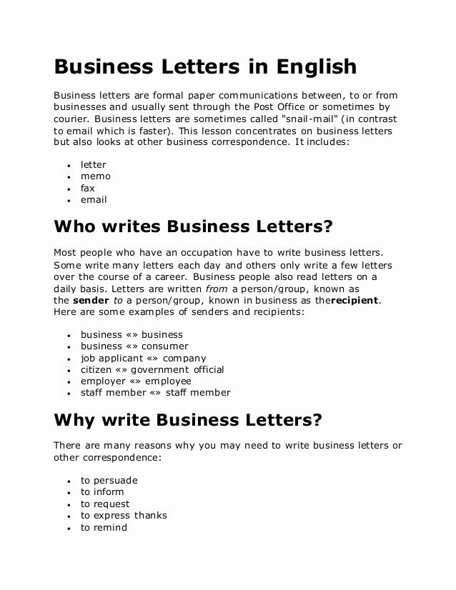 Business Letter Template with Letterhead Inspirational Business Letters In English