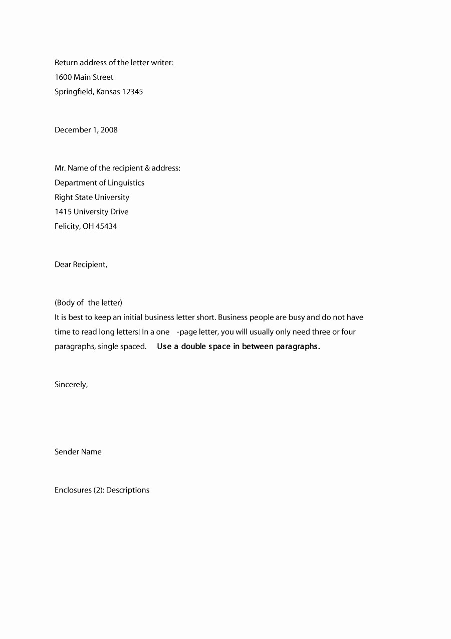 Business Letter Template with Letterhead Unique 35 formal Business Letter format Templates & Examples