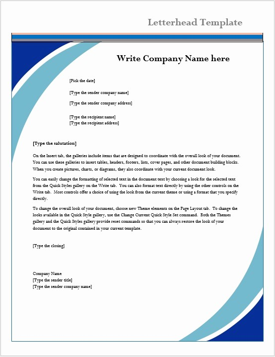 Business Letter Template with Letterhead Unique Letterhead Template – Microsoft Word Templates