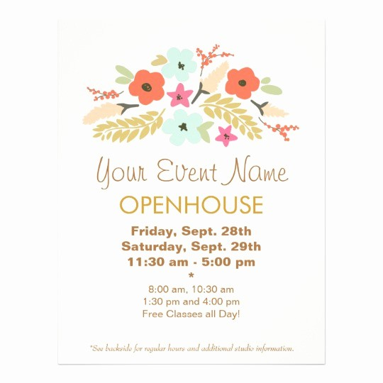 Business Open House Flyer Template Unique Colorful Flowers Floral Open House Flyer