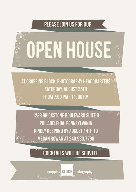 Business Open House Flyer Template Unique Rough Ribbon Corporate event Invitations In ash or Adobe