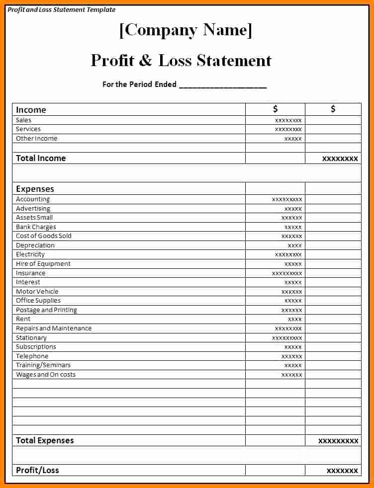 Business P&l Statement New Profit and Loss Statement Template for Self Employed