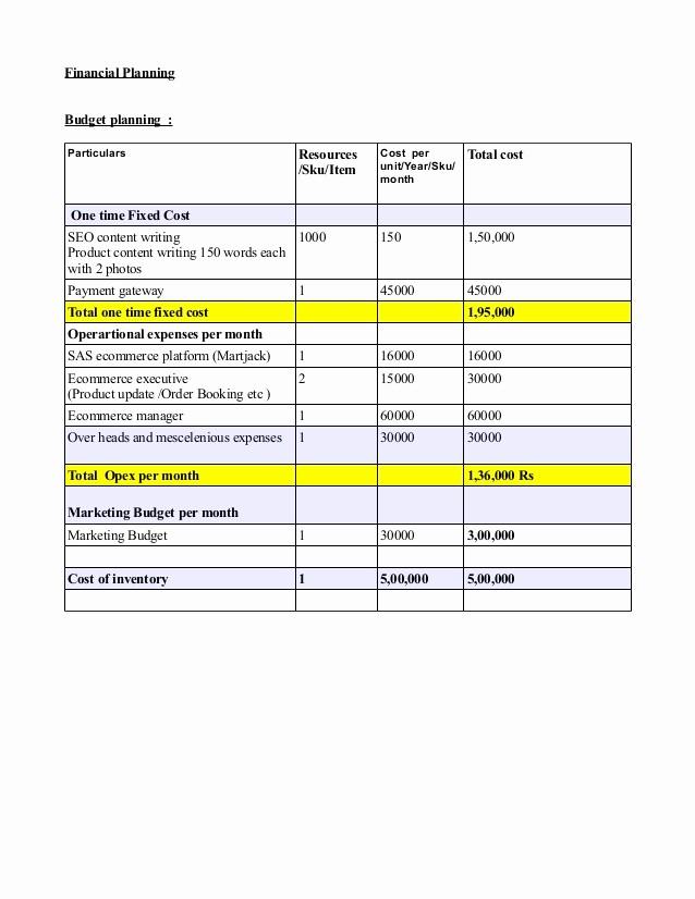 Business Plan Financial Plan Template Best Of Sample It Bud Sample Monthly Bud Worksheet Sample