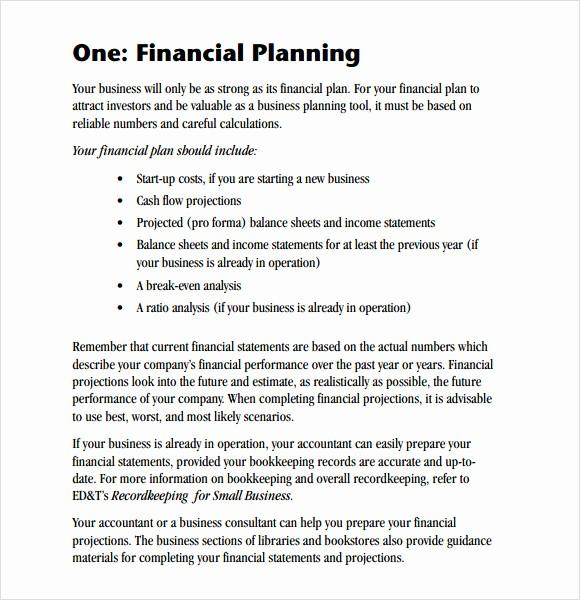 Business Plan Financial Plan Template Elegant 6 Sample Financial Business Plan Templates