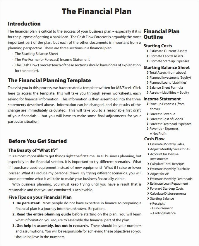 Business Plan Financial Plan Template Unique Financial Business Plan Templates 8 Free & Premium Word