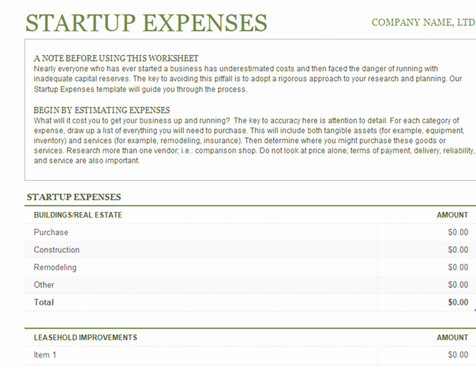 Business Plan Startup Costs Template Fresh Startup Expenses