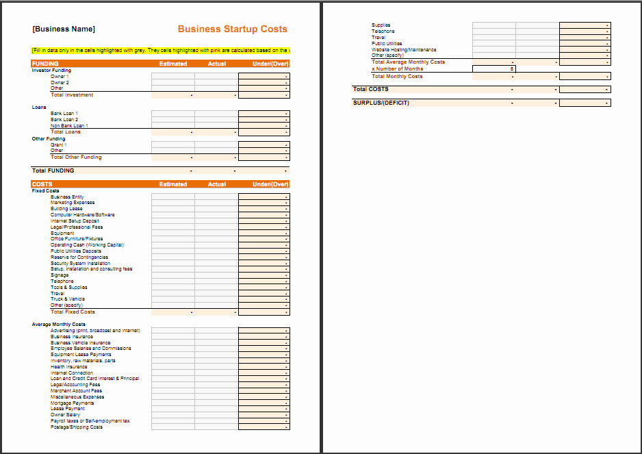 Business Plan Startup Costs Template Inspirational Free Startup Plan Bud Cost Templates Smartsheet