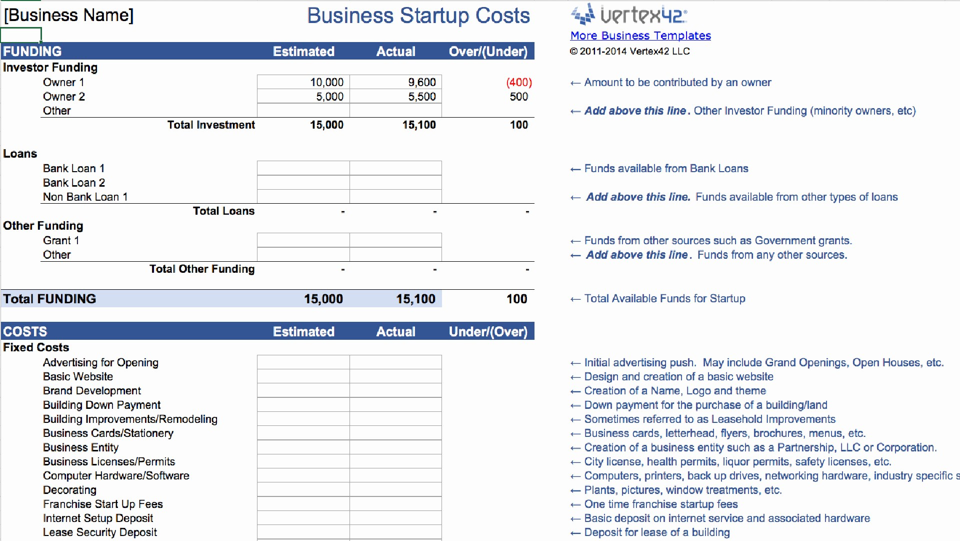 Business Plan Startup Costs Template Unique 15 Easy to Use Bud Templates