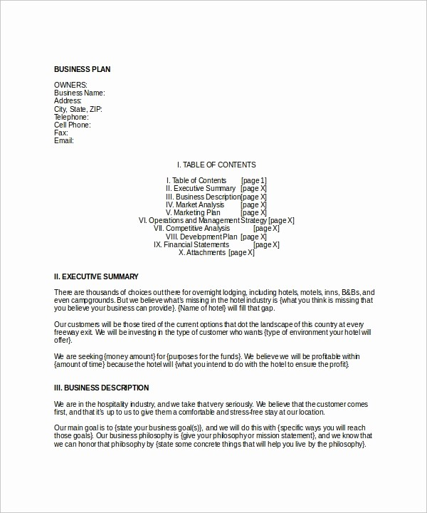 Business Plan Template .doc Beautiful Hotel Business Plan Template 6 Download Free Documents