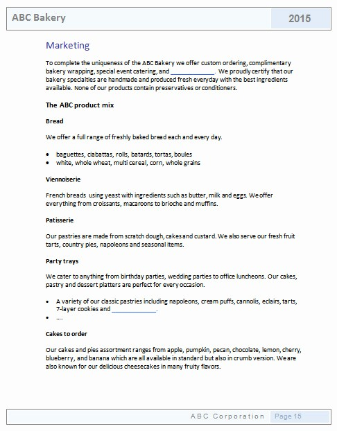 Business Plan Template .doc Unique Bakery Business Plan Template Templates Resume