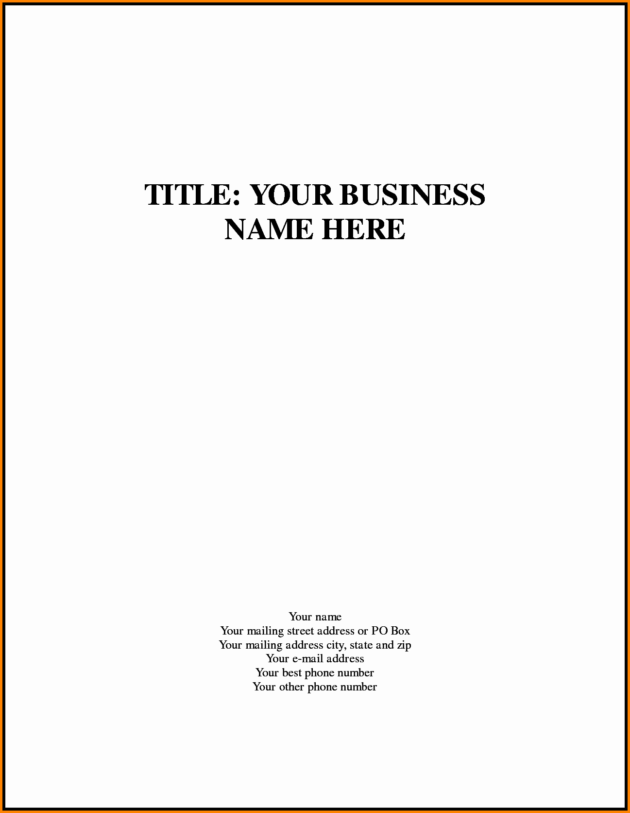 Business Plan Title Page Example Beautiful 90 Day Business Plan