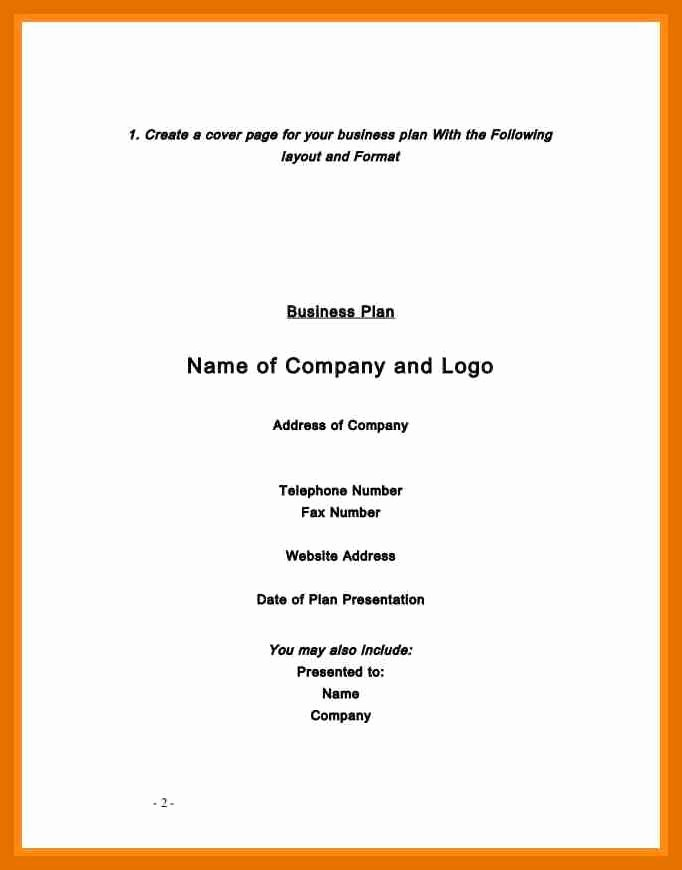 Business Plan Title Page Example Best Of 6 7 Title Page Example