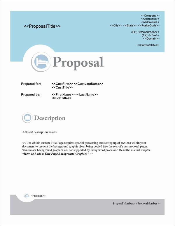 Business Plan Title Page Example Inspirational Proposal Pack Hospitality 1 software Templates Samples