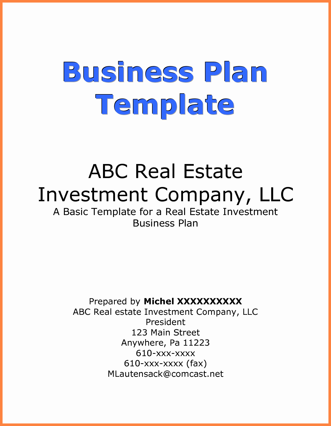 business plan cover page example 3230