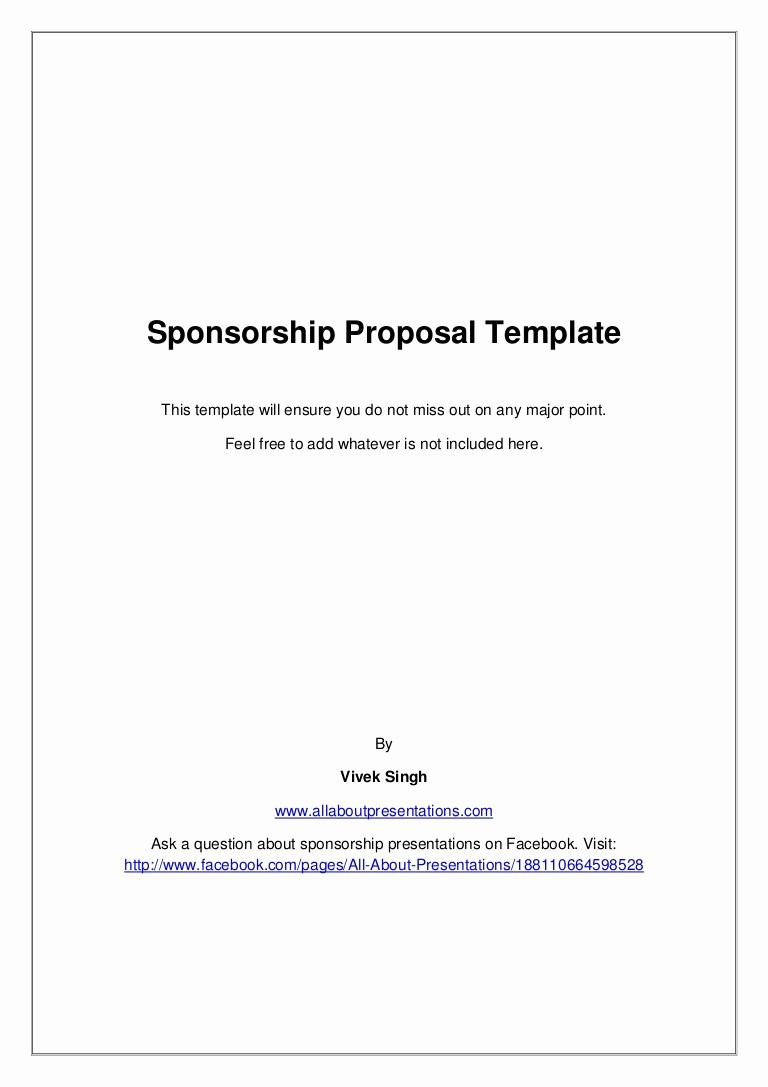 Business Plan Title Page Template Fresh Sponsorship Proposal Template