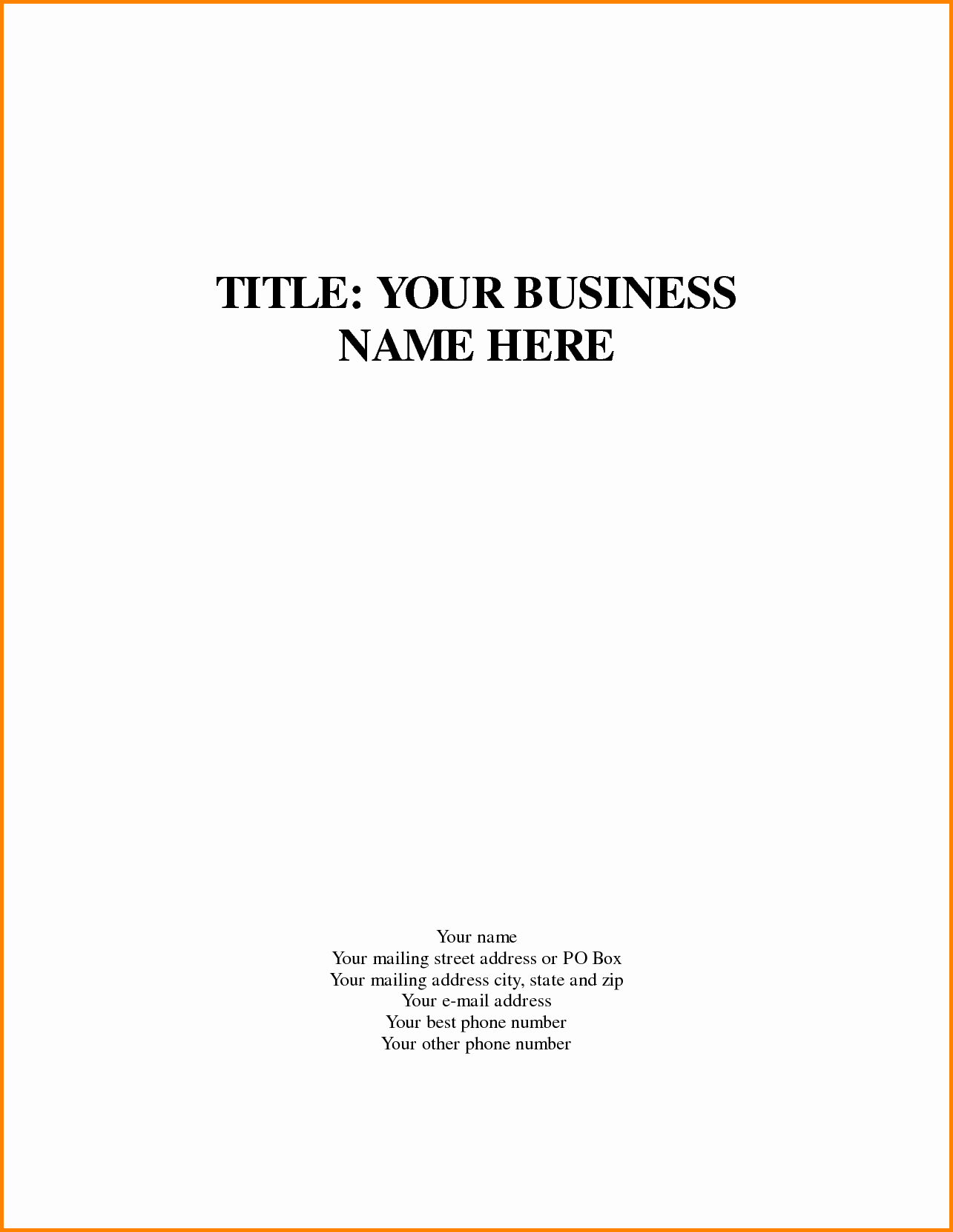 Business Plan Title Page Template Lovely Business Title Page Template Quote Templates Apa Essay