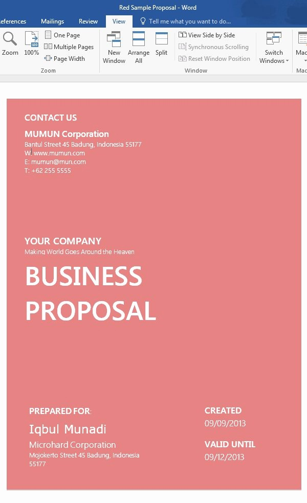 Business Plan Title Page Template Lovely How to Customize A Simple Business Proposal Template In Ms
