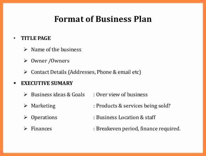 Business Plan Title Page Template New Buisness Plan format Rusinfobiz