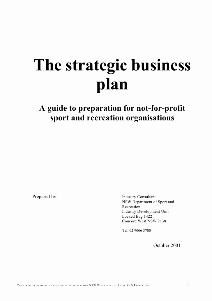 Business Plan Title Page Template New the Strategic Business Plan