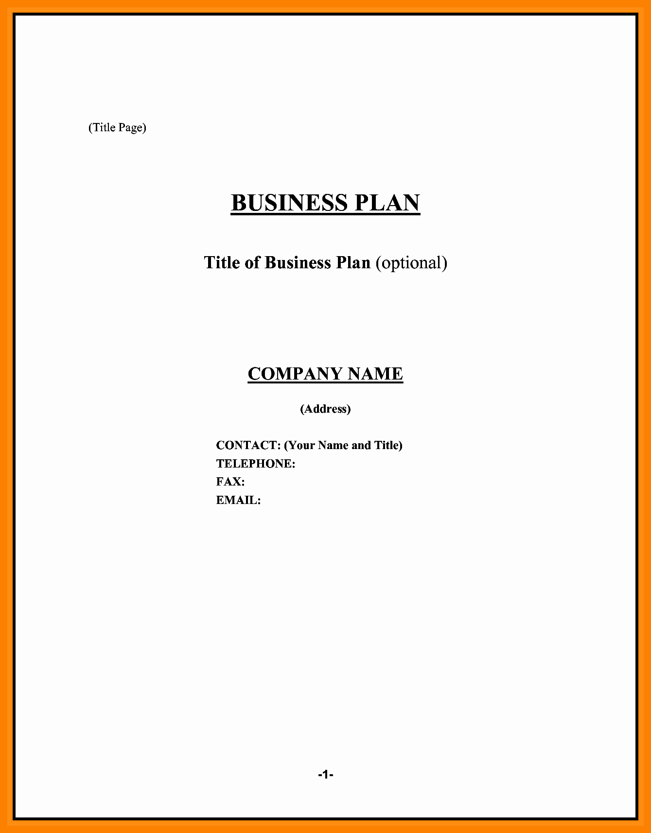 Business Plan Title Page Template New Title Page for Business Plan
