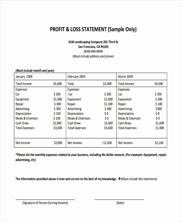 Business Profit and Loss form Awesome 8 Profit and Loss Statement form Samples Free Sample