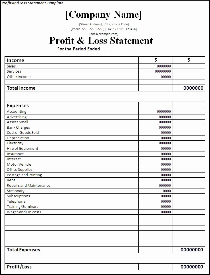 Business Profit and Loss form Awesome Printable Profit and Loss Statement