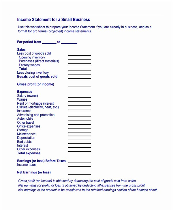 Business Profit and Loss form Fresh 8 Profit and Loss Statement form Samples Free Sample