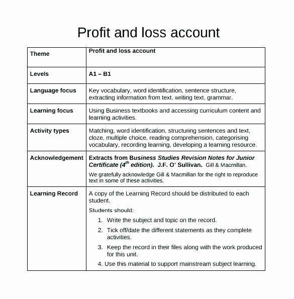 Business Profit and Loss form Luxury Template More From Business Small Profit and Loss