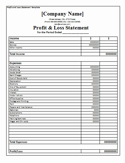 Business Profit and Loss form Unique Profit and Loss Statement Template