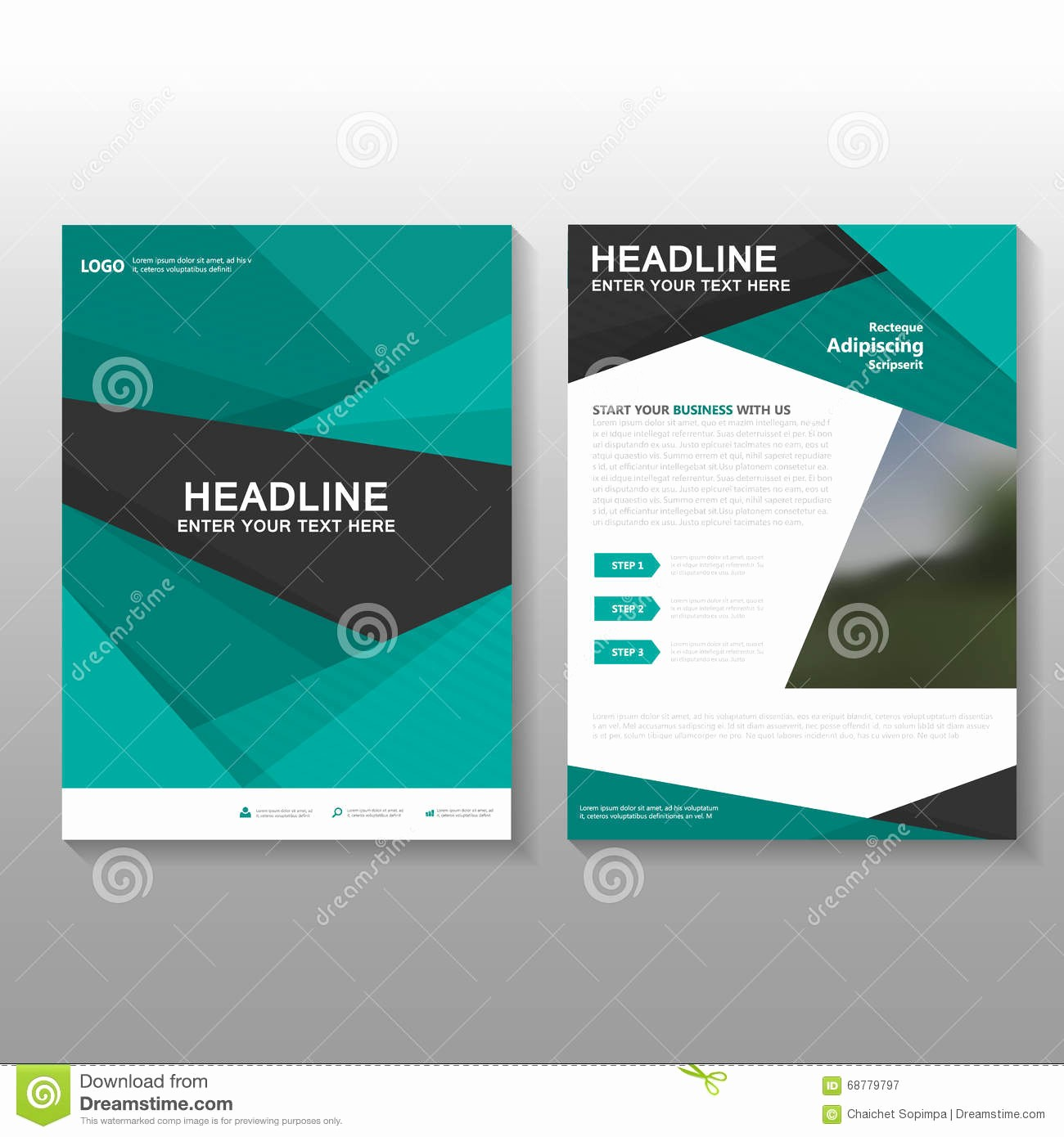 Business Proposal Cover Page Template Awesome Abstract Green Vector Leaflet Brochure Flyer Business