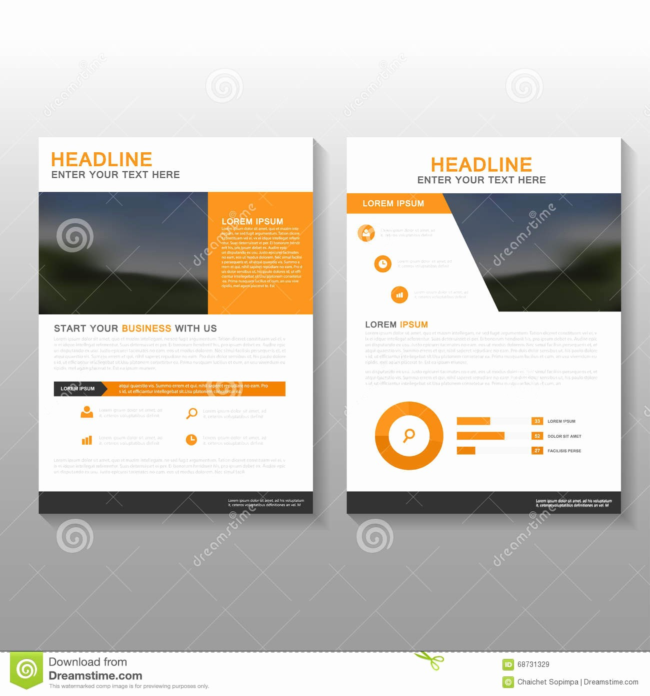Business Proposal Cover Page Template Beautiful orange Vector Leaflet Brochure Flyer Business Proposal