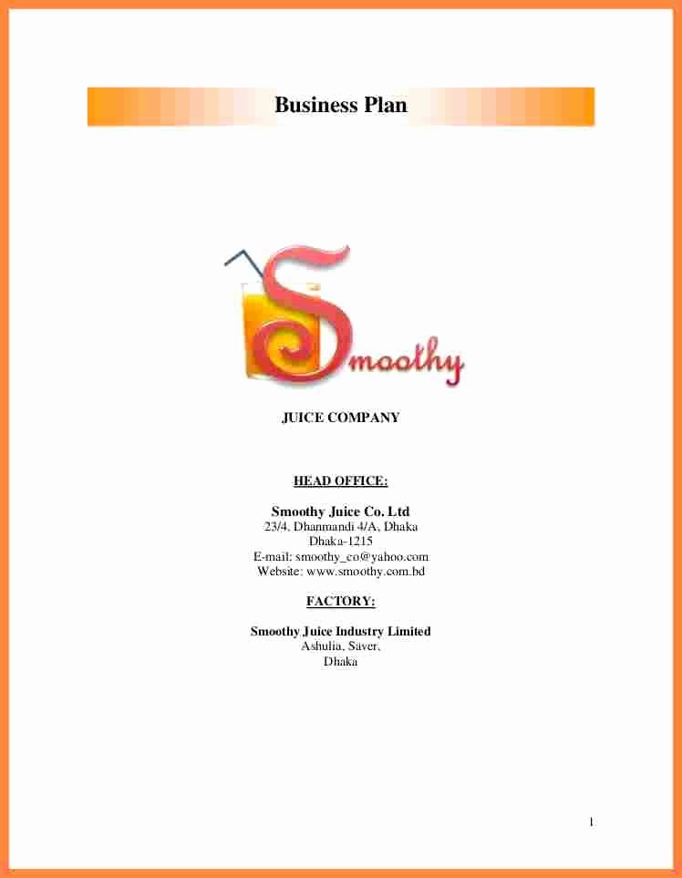 Business Proposal Cover Page Template Fresh Business Plan Cover