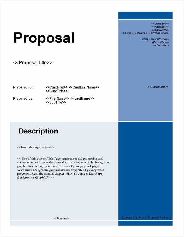 Business Proposal Cover Page Template Luxury Proposal Pack for Any Business software Templates Samples