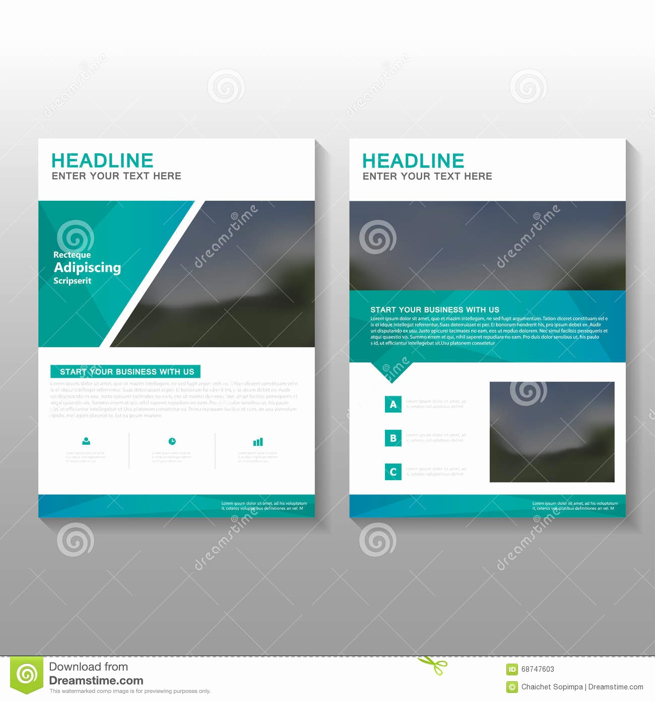 Business Proposal Cover Page Template Unique Green Elegance Vector Leaflet Brochure Flyer Business