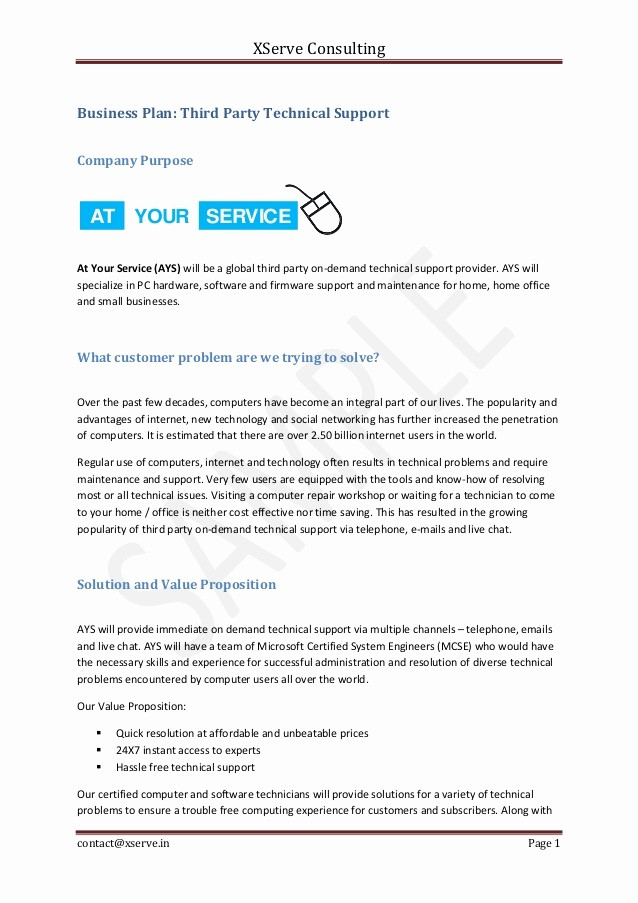 Business Proposal Sample for Services Best Of Business Plan Sample