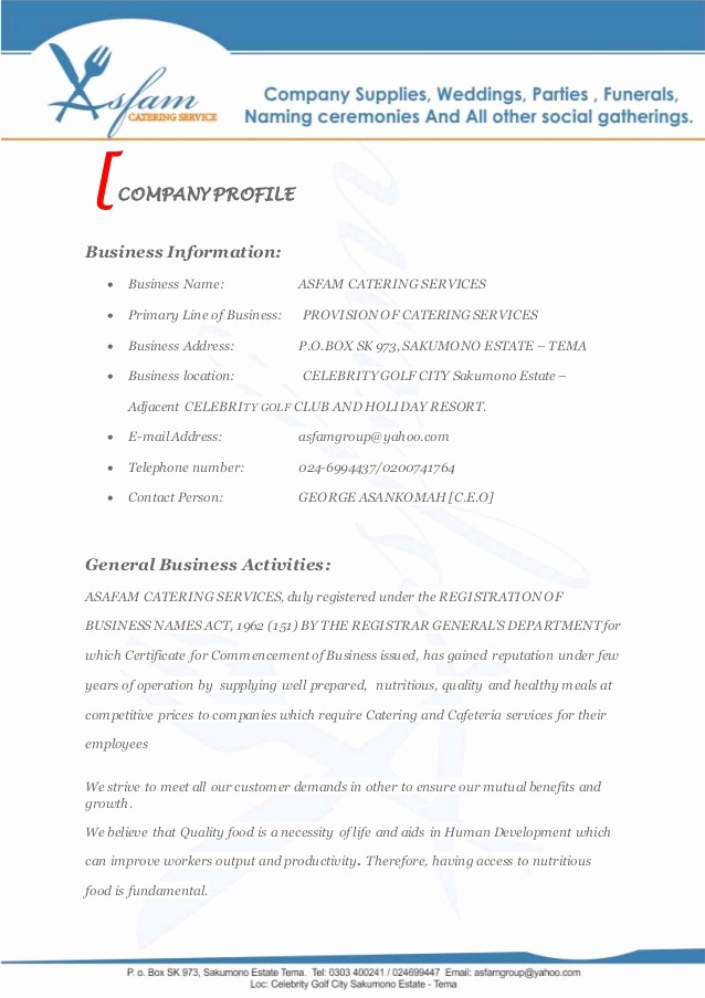Business Proposal Sample for Services Inspirational asfam Catering Services Business Proposal