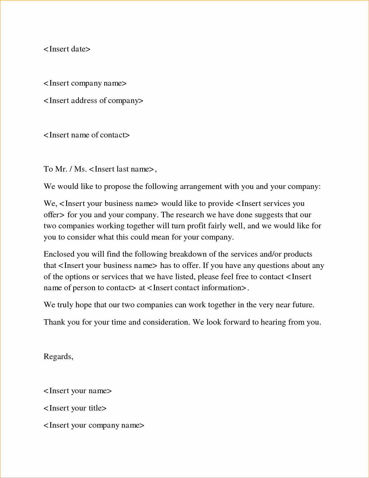 Business Proposal Sample for Services Lovely Business Proposal Sample Letter Business Proposal