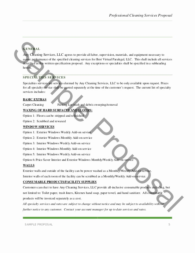 Business Proposal Sample for Services New Janitorial Service Proposal Template