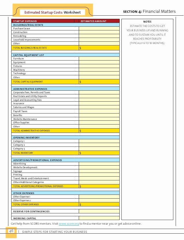 Business Start Up Costs Worksheet Awesome Simple Steps for Starting Your Business