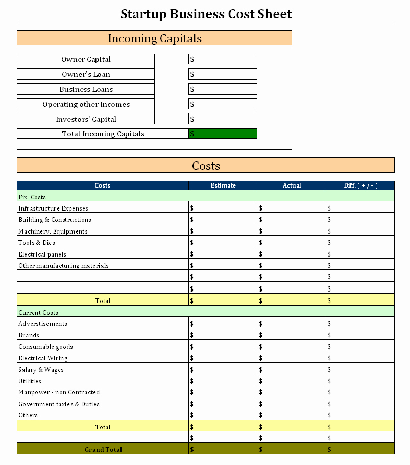 Business Start Up Costs Worksheet Beautiful Start Up Business Cost Sheet